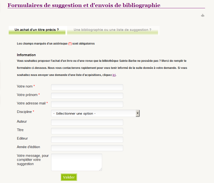 formulaire bibliographies