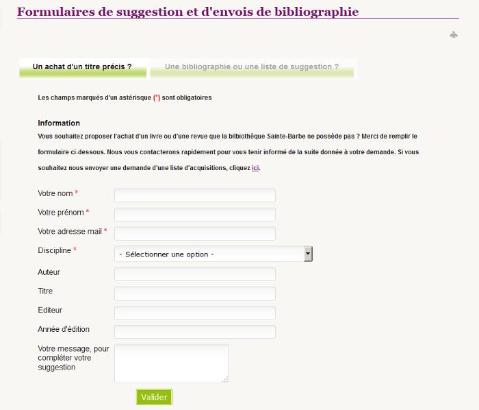 formulaire bibliographies