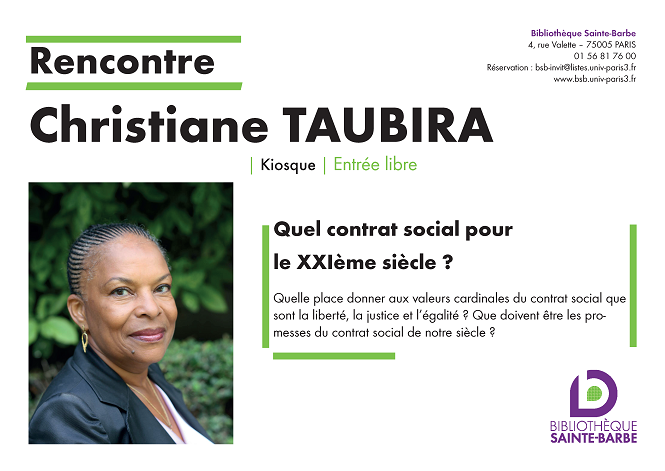 Rencontre Christiane Taubira 2018 BSB Affiche